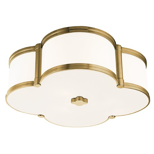 Hudson Valley Lighting Chandler 3 Light Flushmount Light Clover Shaped Glass - Aged Brass 1216-AGB