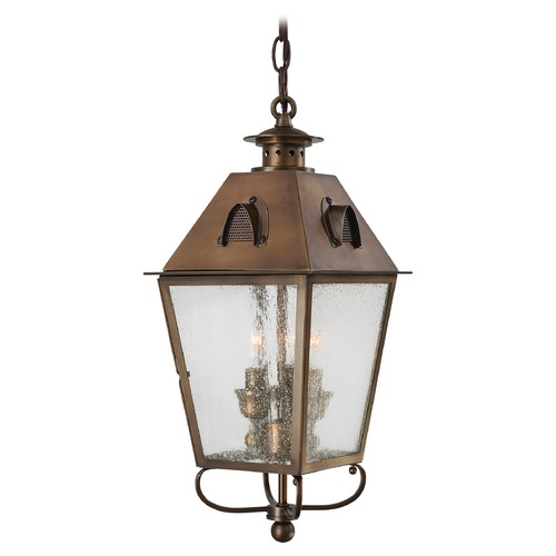 Minka Lavery Outdoor Hanging Light with Clear Glass in English Brass Finish 72424-212