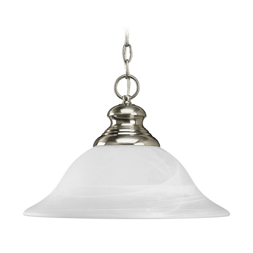 Progress Lighting Progress Pendant Light with Alabaster Glass in Brushed Nickel Finish P5090-09