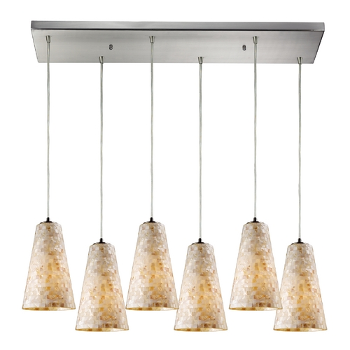 Elk Lighting Modern Multi-Light Pendant Light with Beige / Cream Glass and 6-Lights 10142/6RC