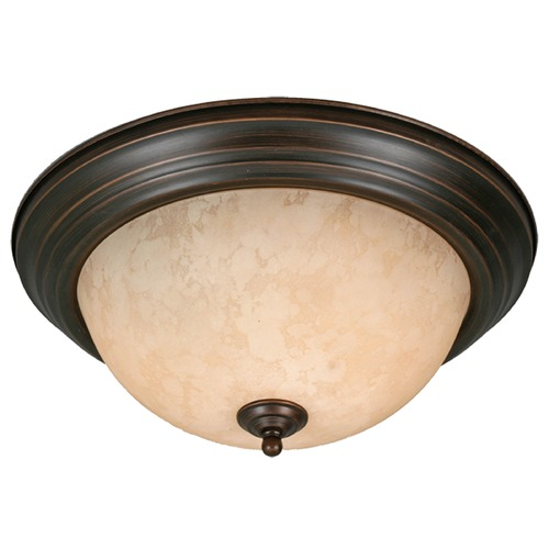 Golden Lighting Golden Lighting Rubbed Bronze Flushmount Light 1260-13 RBZ-TEA