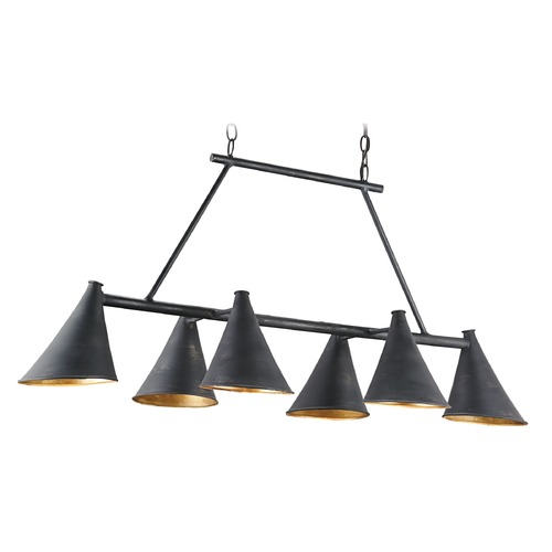 Currey and Company Lighting Currey and Company Culpepper French Black/contemporary Gold Leaf Island Light with Coolie Shade 9841
