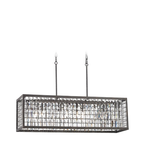 Elk Lighting Elk Lighting Nadina Silverdust Iron Island Light with Rectangle Shade 14341/4