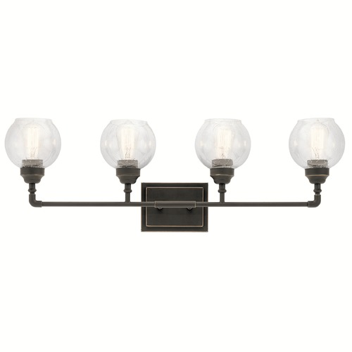 Kichler Lighting Seeded Glass Bathroom Light Bronze Kichler Lighting 45593OZ