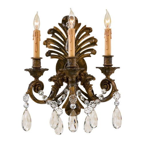 Metropolitan Lighting Crystal Sconce Wall Light in Oxidized Brass Finish N952013