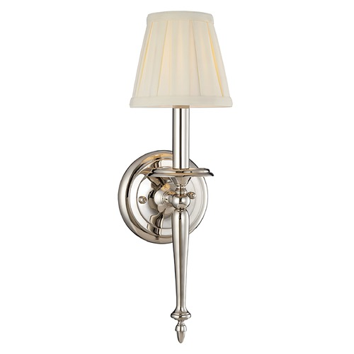 Hudson Valley Lighting Sconce Wall Light with White Shade in Polished Nickel Finish 5201-PN