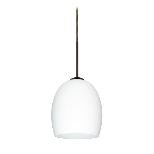 Besa Lighting Modern Pendant Light with White Glass in Bronze Finish 1JT-169707-BR