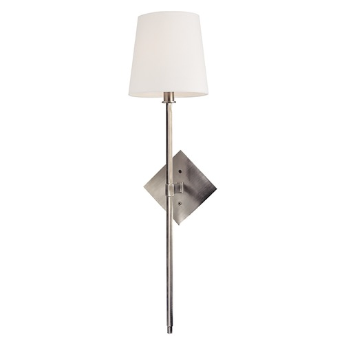 Hudson Valley Lighting Nickel Wall Sconce Light with White Barrel Shade 211-HN