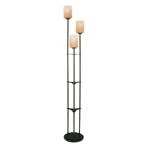 Lite Source Lighting Modern Floor Lamp with Amber Glass in Dark Bronze Finish LSF-80700D/BRZ