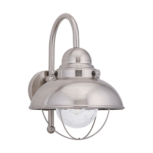Sea Gull Lighting Outdoor Wall Light with Clear Glass in Brushed Stainless Finish 8871-98
