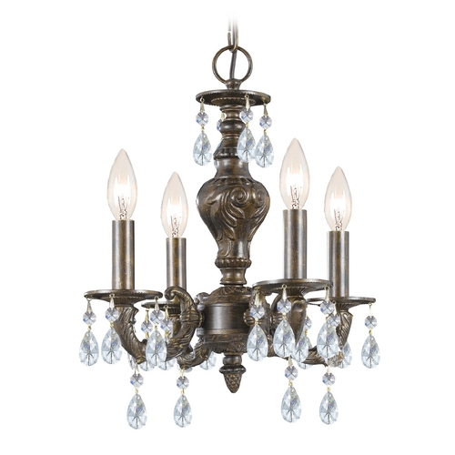 Crystorama Lighting Crystal Mini-Chandelier in Venetian Bronze Finish 5024-VB-CL-SAQ