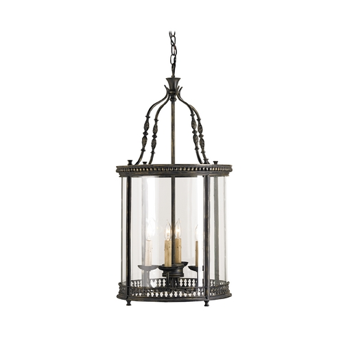 Currey and Company Lighting Drum Pendant Light with White Glass in French Black Finish 9046