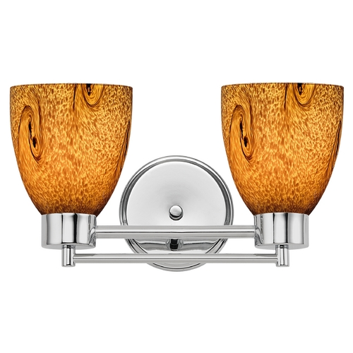 Design Classics Lighting Modern Bathroom Light with Brown Art Glass in Chrome Finish 702-26 GL1001MB