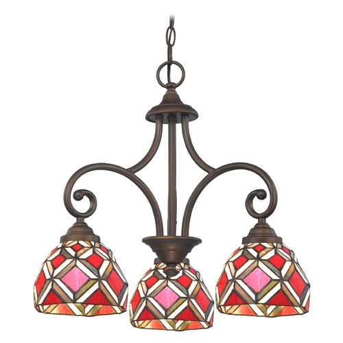 Design Classics Lighting Mini-Chandelier with Tiffany Glass in Bronze Finish 716-220 GL1035