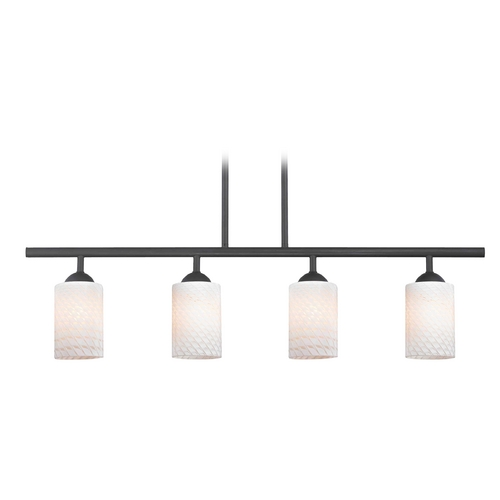 Design Classics Lighting Modern Island Light with White Glass in Matte Black Finish 718-07 GL1020C
