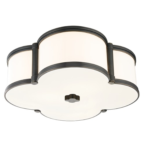Hudson Valley Lighting Chandler 3 Light Flushmount Light Clover Shaped Glass - Old Bronze 1216-OB