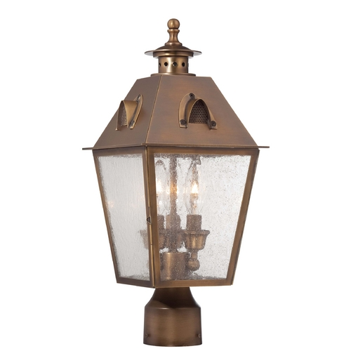Minka Lavery Post Light with Clear Glass in English Brass Finish 72426-212