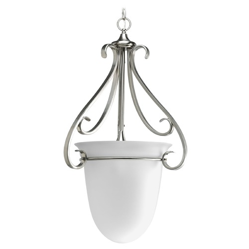 Progress Lighting Progress Pendant Light with White Glass in Brushed Nickel Finish P3824-09