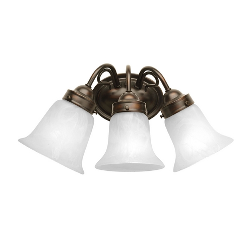 Progress Lighting Bathroom Light with Alabaster Glass in Antique Bronze Finish P3369-20