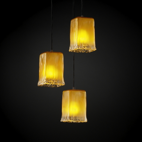 Justice Design Group Justice Design Group Veneto Luce Collection Multi-Light Pendant GLA-8864-26-GLDC-DBRZ