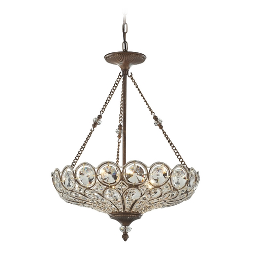 Elk Lighting Crystal Pendant Light in Mocha Finish 12024/5
