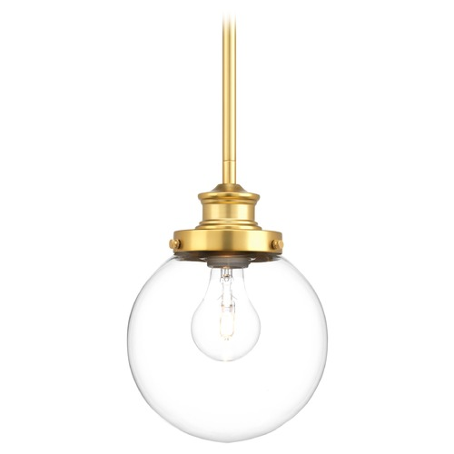Progress Lighting Progress Lighting Penn Natural Brass Mini-Pendant Light with Globe Shade P5067-137