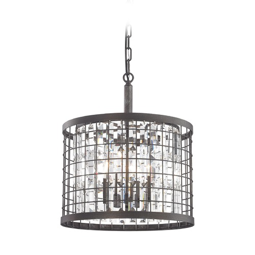 Elk Lighting Elk Lighting Nadina Silverdust Iron Pendant Light with Drum Shade 14342/4