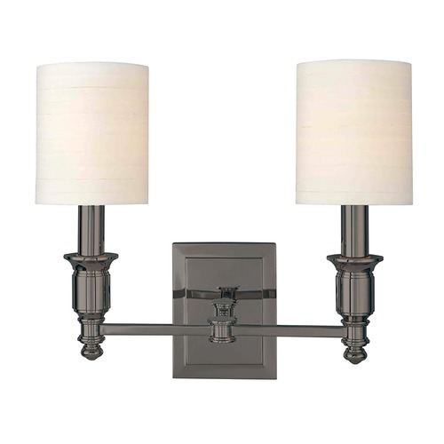 Hudson Valley Lighting Sconce Wall Light with White Shades in Antique Nickel Finish 7502-AN