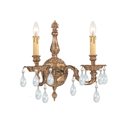 Crystorama Lighting Crystal Sconce Wall Light in Olde Brass Finish 2502-OB-CL-MWP