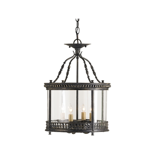 Currey and Company Lighting Drum Pendant Light with White Glass in French Black Finish 9045