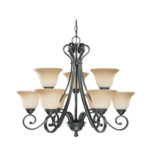 Nuvo Lighting Chandelier with Beige / Cream Glass in Sudbury Bronze Finish 60/2744