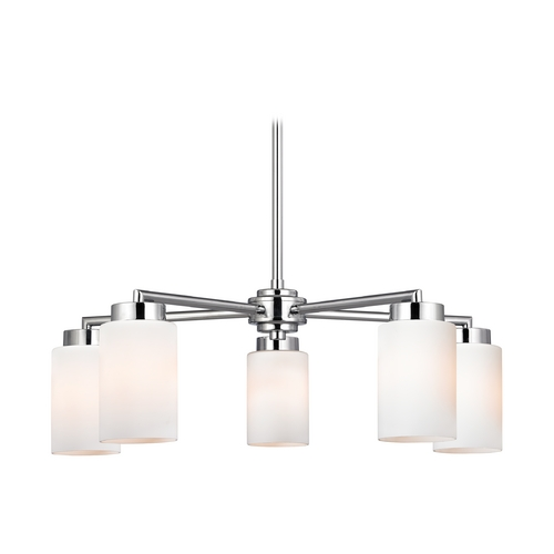 Design Classics Lighting Modern Chandelier with White Glass in Polished Chrome Finish 590-26 GL1028C