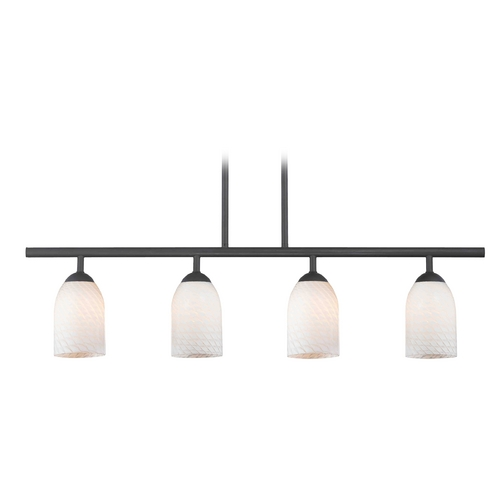 Design Classics Lighting Modern Island Light with White Glass in Matte Black Finish 718-07 GL1020D