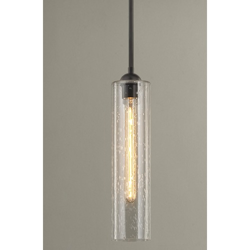 Design Classics Lighting Bronze Mini-Pendant Light with Clear Seedy Cylinder Glass 581-220 GL1641C