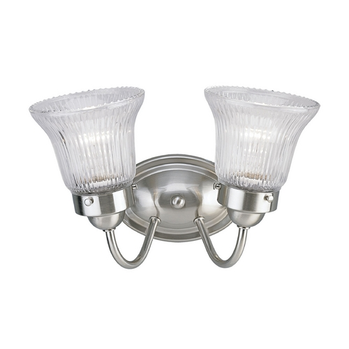 Progress Lighting Prismatic Glass Bathroom Light Brushed Nickel Progress Lighting P3288-09