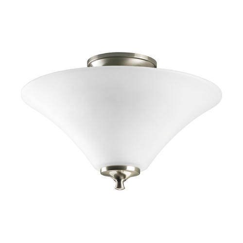Progress Lighting Progress Semi-Flushmount Ceiling Light with White Glass P3855-09