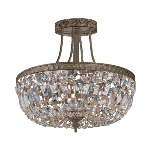 Crystorama Lighting Crystorama Lighting Ceiling Mount English Bronze Semi-Flushmount Light 119-12-EB-CL-SAQ