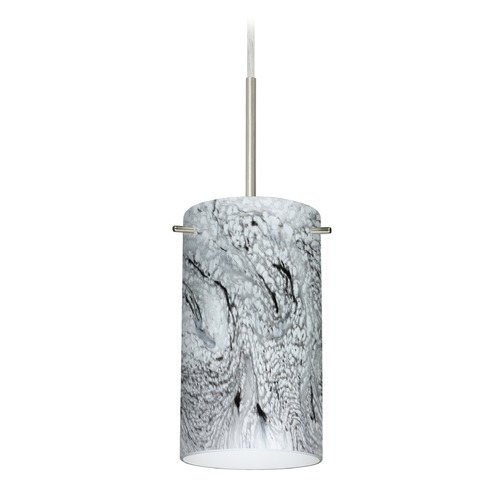 Besa Lighting Besa Lighting Stilo Satin Nickel LED Mini-Pendant Light with Cylindrical Shade 1BT-4404MG-LED-SN