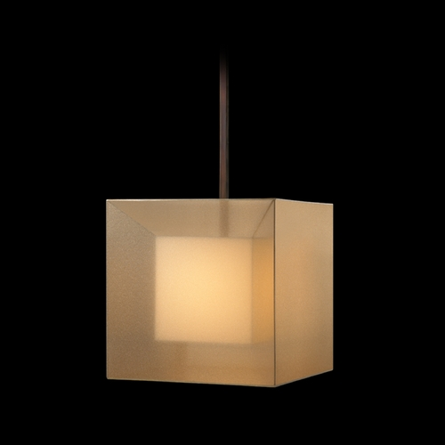 Fine Art Lamps Fine Art Lamps Quadralli Rich Bourbon with Golden Mist Highlights Pendant Light with Square Shade 330640ST