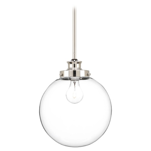 Progress Lighting Progress Lighting Penn Polished Nickel Mini-Pendant Light with Globe Shade P5070-104