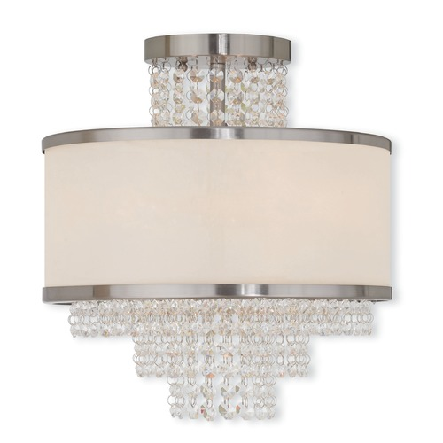 Livex Lighting Livex Lighting Prescott Brushed Nickel Semi-Flushmount Light 50794-91
