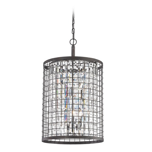 Elk Lighting Elk Lighting Nadina Silverdust Iron Pendant Light with Cylindrical Shade 14343/4