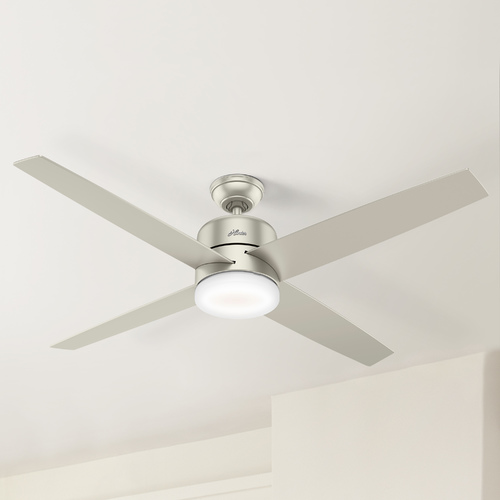 Hunter Fan Company Hunter 60-Inch Matte Nickel LED Ceiling Fan with Light with Hand-Held Remote 59370