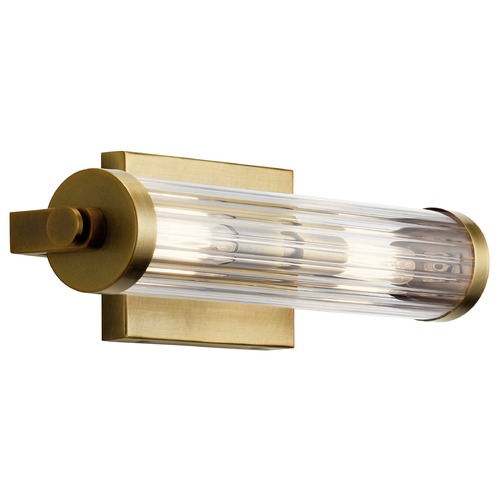 Kichler Lighting Azores Natural Brass Sconce with Fluted Clear Glass 45648NBR