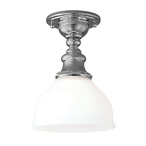 Hudson Valley Lighting Semi-Flushmount Light with White Glass in Polished Nickel Finish 5911F-PN