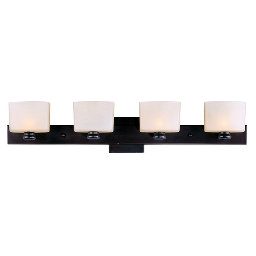 Maxim Lighting Modern Bathroom Light with White Glass in Oil Rubbed Bronze Finish 9004DWOI