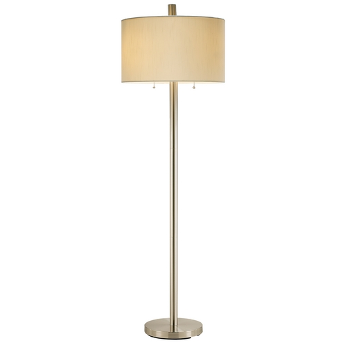 Adesso Home Lighting Modern Floor Lamp with White Shade in Satin Steel Finish 4067-22