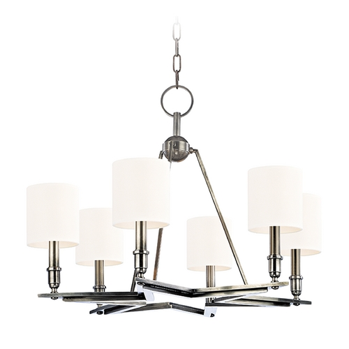 Hudson Valley Lighting Chandelier with White Shades in Aged Silver Finish 4086-AS-WS