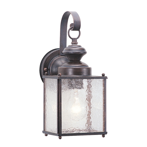 Sea Gull Lighting Outdoor Wall Light with Clear Glass in Textured Rust Patina Finish 8881-08