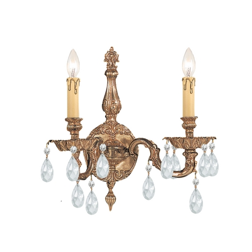 Crystorama Lighting Crystal Sconce Wall Light in Olde Brass Finish 2502-OB-CL-S